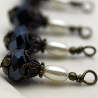 Vintage Style Black AB Crystal Rondelle and Pearl Bead Dangle Drop Set