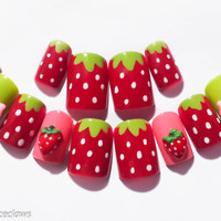 Strawberry Fake Nails, 3D Nails, 3D Nail Art, Kawaii Nails, Kawaii Nail Art, Acrylic Nails, False Nails, Summer Nail Art, Cute Nails, Kawaii