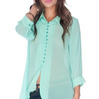 Easy Button Down Blouse in Mint :: tobi