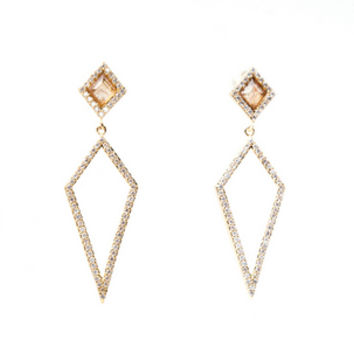 Pave Double Diamond Earrings -