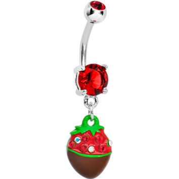 Red Gem Chocolate Covered Strawberry Dangle Belly Ring | Body Candy Body Jewelry