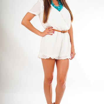 Showered With Kisses Romper: White