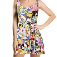 Amour- Fashion 3D Digital Print Adventure Time SCOOP Skater Dress Clubwear Ball Party