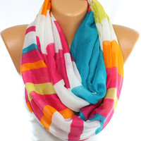 NEW Multicolor Scarf Stripped Scarf Loop Scarf Orange Scarf Summer Scarf Spring Lightweight Scarf Gift Ideas For Her Womens Scarves ESCHERPE