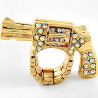 Run From My Gun Gold Ring