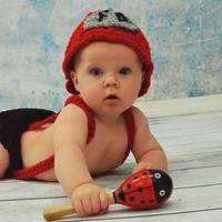 Fireman Hat and Diaper Cover with Suspenders and by BeyondGenesis