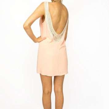 Light Peach Open Back Shift Dress