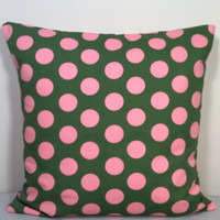 """2 Pillow Covers 100% Cotton, Olive Green with Big Pink Polka Dots - READY TO SHIP - 14"""" x 14"""""""