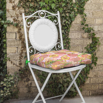 Lisa Argyropoulos Peaches On Pink Outdoor Seat Cushion