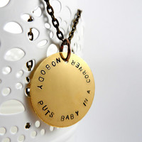 Nobody Puts Baby In A Corner, Handstamped Metal Jewlery, Quote Necklace, Antique Brass, Dirty Dancing