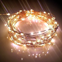 Starry String Lights w/ 120 Warm White LEDs on Copper Wire 20ft Long, Ultra-thin. Amazingly Bright New Generation of Micro LEDs for Indoor and Outdoor Use. You Can Create Mesmerizing Hanging Garlands for Events such as Weddings. Wrap Around Your Patio or B