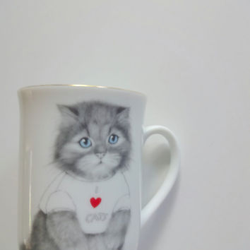 Vintage Otagiri I Love Cats Coffee Mug 1980s