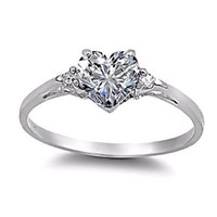 Sterling Silver 0.81ct Elegant Heart-cut Russian Ice on Fire Diamond CZ Promise Friendship Engagement Ring, Cassie (available in sizes 4 to 10.5)
