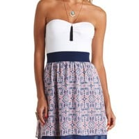 STRAPLESS COLOR BLOCK TRIBAL PRINT DRESS