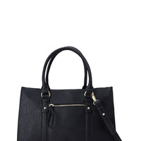 Structured Faux Leather Carryall