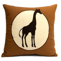 Giraffe pillow cover Victorian Style Shadow by DancingArethusa