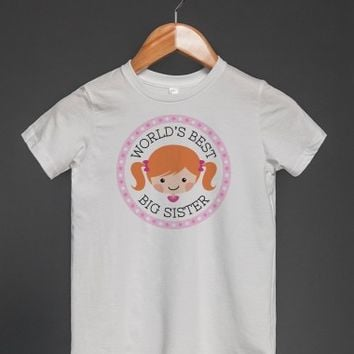 WORLD'S BEST BIG SISTER T-SHIRT WITH CUTE, GINGER CARTOON GIRL
