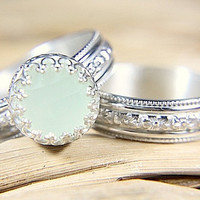Green Chalcedony Wedding Set - Eco Friendly Sterling Silver Band & Engagement Ring - Vintage Styling