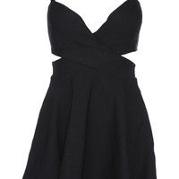 ROMWE Cut-out Crossed Pieced Black Camisole Bandeau Dress