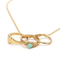 With Love From CA Triple Ring Necklace - Womens Jewelry - Gold - NOSZ