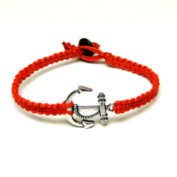 Red Hemp Bracelet, Silver Tone Anchor Charm, Nautical Jewelry, Summer, Made to Order