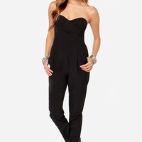 TFNC Staley Black Strapless Jumpsuit