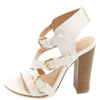 Strappy Buckled Single Sole Heels by Charlotte Russe - White