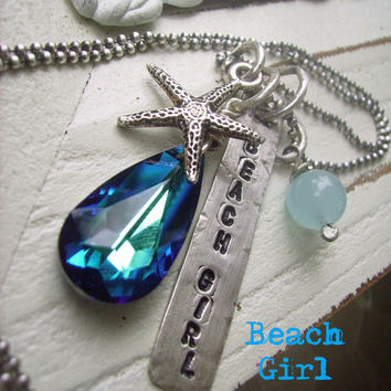 Beach Girl Charm hand stamped sterling silver necklace, starfish charm, larimar and stunning crystal, oxidized ball chain, modern rustic