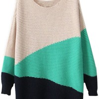 Sheinside Green Black Beige Long Sleeve Geometric Asymmetrical Sweater