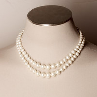 Vintage Double Strand White Bead Necklace