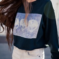 NANCY 3D ALIENS CROPPED SWEATSHIRT