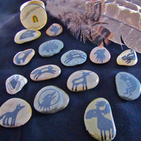 Small Animal Spirit Stones Set of six by SusanRainbowLTD on Etsy