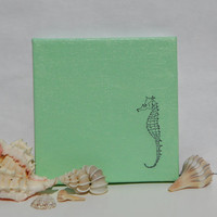 Seafoam Seahorse Painting on Canvas Original Art 6x6 by WhitSpeaks