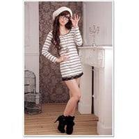 Sexy Stripe Pattern Lace Border Long Sleeve knitwear Slim Dress Coffe-Wholesale Women Fashion From Icanfashion.com