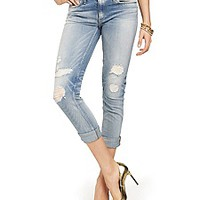 Distressed Straight Rolled Jean