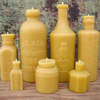 Lovely Lot of 7 Antique BottleShaped Beeswax by pollenArts