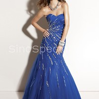 Amazing Mermaid/Trumpet Sweetheart Tulle Beaded Corset Evening Dress-SinoSpecial.com