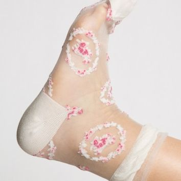 FLOWER SHEER ANKLE SOCKS