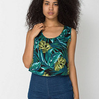 Jungle Leaves Print Rayon Loose Crop Top