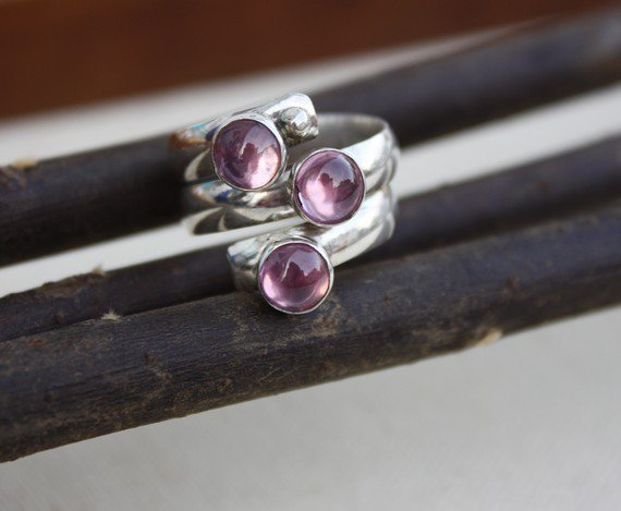 Fairy Tale Ring Sterling Silver Pink Stones by KittyStoykovich