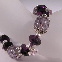 Purple Amethyst and Lampwork sterling silver bracelet | cserpent - Jewelry on ArtFire