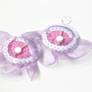 Lilac Fairy Earrings - Orchid pink white Sequins - embroidered felt jewelry