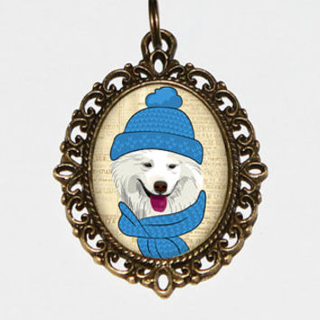 Dog With Toque Necklace Oval Pendant