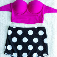 New Women's Retro Vintage Pin Up High Waist Two Pieces Bikini Sets Hop Pink Top+Polka Bottom Swimsuit Swimwear