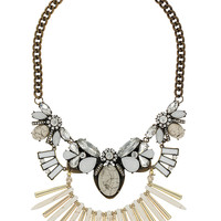 Cream Semi Precious Stone Necklace - Cream