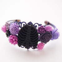 glamasaurus ♥Kawaii Cute Sweet Jewelry + Accessories ♥ — Rib Cage Purple Cluster Bracelet -OOAK Horror Goth