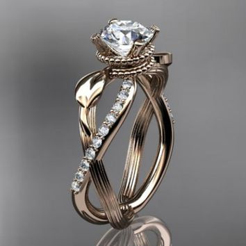 14kt rose gold diamond leaf and vine wedding ring,engagement ring ...... | AnjaysDesigns - Jewelry on ArtFire