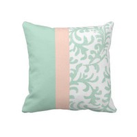 Mint Green and Peach Pink Floral Pattern Pillow from Zazzle.com