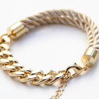 Gold chunky chain and Silk Bracelet