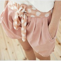 New Arrive Halter Girdle Pleated Short Pink-Wholesale Women Fashion From Icanfashion.com
